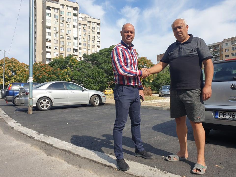 """Паркинг с места за 60 автомобила бе изграден пред блокове 82 и 84 в """"Тракия"""""""